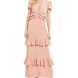 WAYF Pink Lavina Maxi Ruffle Cutout Dress Sz Small